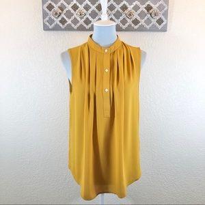 NWT Ann Taylor Blouse Mustard Sleeveless, Size M